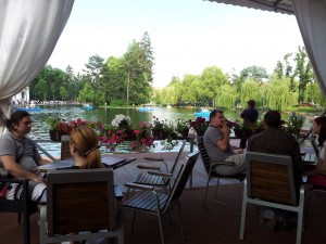 Terrace on the lake in Central Park in Cluj