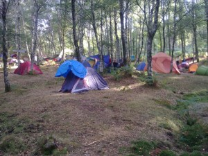 Camping in the forest for the Rainbow Gathering