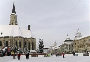 Ice skating in Central Square in Cluj, Winter wonderland in Transylvania