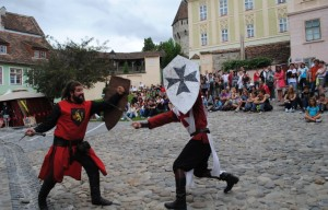 medieval knights fighting in the square